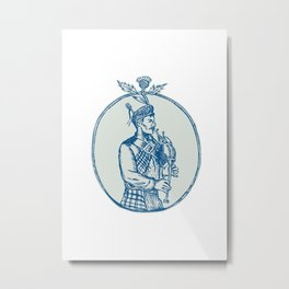 Scotsman Bagpiper Playing Bagpipes Etching Metal Print