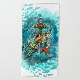 Turtle and Sea Beach Towel