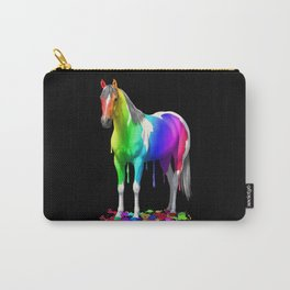 Colorful Rainbow Dripping Wet Paint Horse Carry-All Pouch