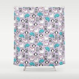 Llama, Unicorn, Narwhal, Panda, Penguin, Hippo, Tween Art, Purple Print, Cute Animal Illustration Shower Curtain