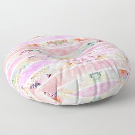 Modern floral watercolor girly pastel pink stripes Floor Pillow