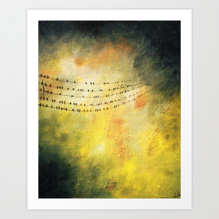 Birds On A Wire Archival Art Print Blackbird Autumn Earth Tone Natural Wall