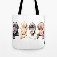 puppies Tote Bags featuring cachorros ( puppies  ) by arnedayan
