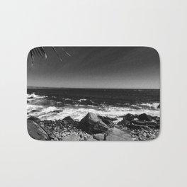 ocean view in black and white Bath Mat