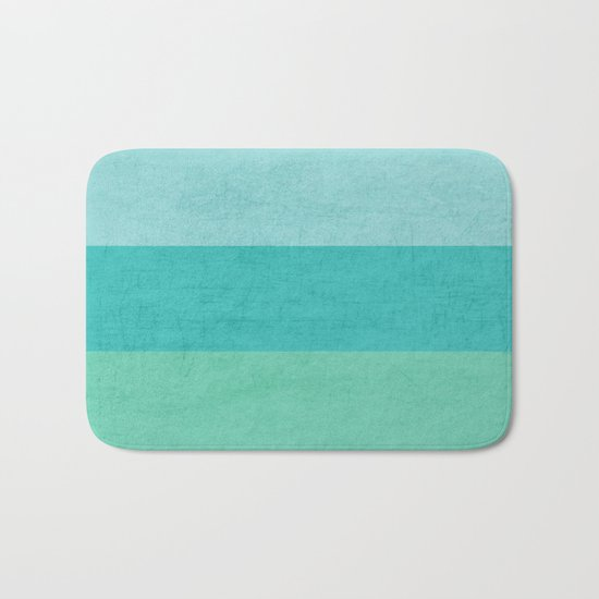 three stripes - teal Bath Mat