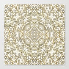 Golden Mandala in Cream Color Background Canvas Print