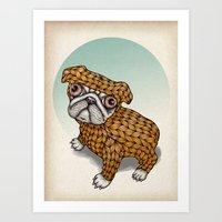 puppy Art Prints featuring PUPPY by evafialka