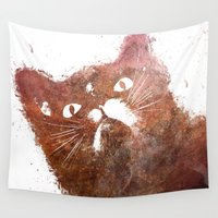 ginger Wall Tapestries featuring Ginger cat by jbjart