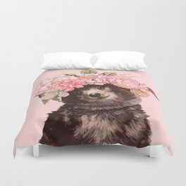 Baby Bear with Flowers Crown Duvet Cover