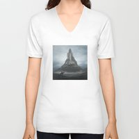 castle V-neck T-shirts featuring White Castle by yurishwedoff