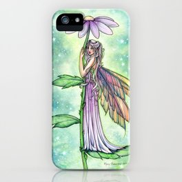 Starry Garden Flower Fairy Illustration by Molly Harrison iPhone Case