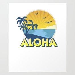 Vintage Aloha Island Surfing 70s Retro Art Print