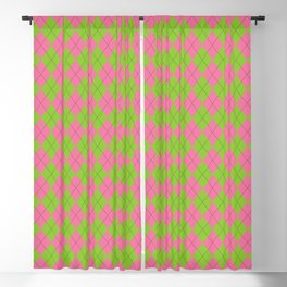 Pink and Green Argyle Pattern Blackout Curtain