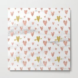 Rose Gold Marble Hearts Design Pattern Metal Print