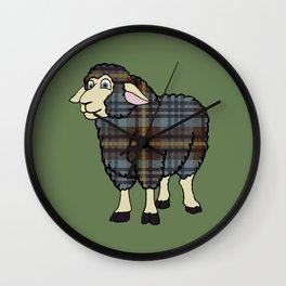Faded Johnston Tartan Sheep Wall Clock