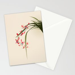 oriental style painting, red orchid flowers Stationery Cards
