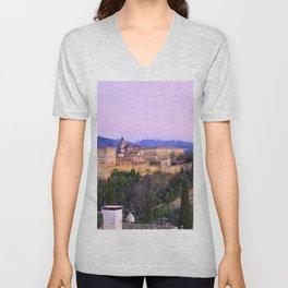 La Alhambra, Sierra Nevada and Granada. At pink sunset Unisex V-Neck