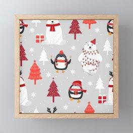 Adorable Christmas Polar Bear and Penguin  Framed Mini Art Print