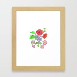 Wild Poppies, Lilacs, and Roses Framed Art Print