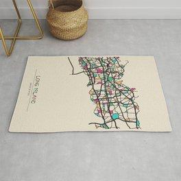 Colorful City Maps: Long Island, United States Rug