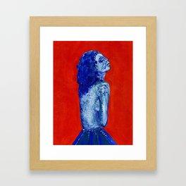 blue girl in blue skirt 2 Framed Art Print