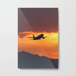 Airbus A320 Sunset Takeoff Metal Print