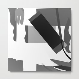 Matisse Inspired Black and White Collage Metal Print
