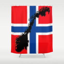 Norwegian Flag with Map of Norway Shower Curtain