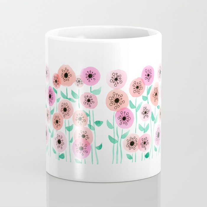 Pink and Peach Floral Watercolor Painting Coffee Mug