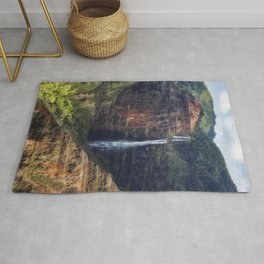 A Waterfall on the Na Pali Coast painterly Rug