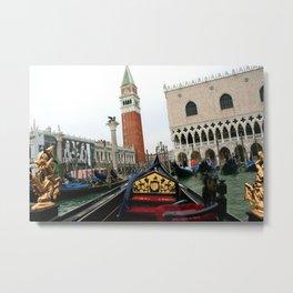 Departing Gondola - Venice Metal Print