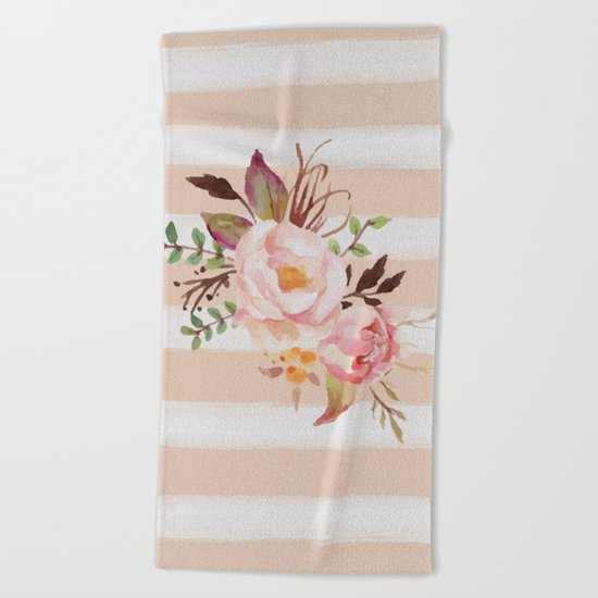 Roses and strips Beach Towel