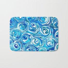 Aqua Blue Swirling Water Abstract Bath Mat