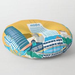 Jacksonville, Florida - Skyline Illustration by Loose Petals Floor Pillow