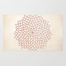 Mandala Flower Rose Gold on Cream Rug