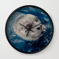 seal Wall Clocks featuring Seal by Andrea Vreken Art