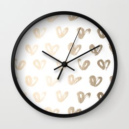 Luxe Gold Hearts on White Wall Clock