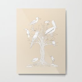 beige tree with birds Metal Print