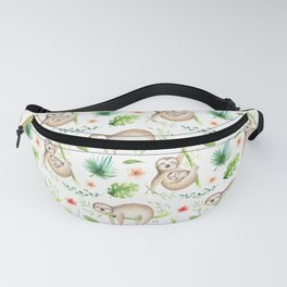 Modern hand painted green brown watercolor tropical floral sloth Fanny Pack