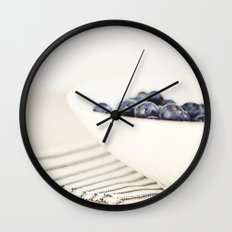 Blueberries in Bowl - Kitchen Art - Food Photography Wall Clock