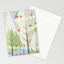 Holiday Winter Scene with Red Bird Santas and Glowing Lights in a Christmas Tree Forest Stationery Cards