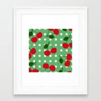 cherry Framed Art Prints featuring cherry by vitamin