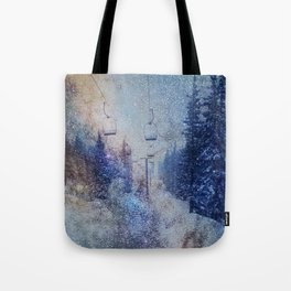 Chairlift into the Universe // Milky Way Galaxy Snowboarding Snow Nebula Stars Mixed Media Popart Tote Bag