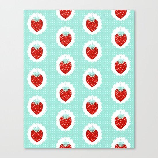 Strawberry fruit tropical mint nature food fresh pattern design geometric berries children farming  Canvas Print