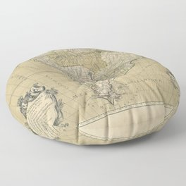 Vintage Map Print - Jaillot's Map of South America, 1783 Floor Pillow