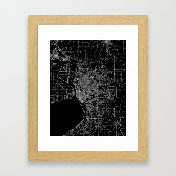Buffalo map New York Framed Art Print