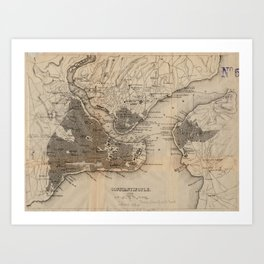 Vintage Map of Constantinople (1859) Art Print