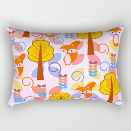 Cute foxes in a magical forest Rectangular Pillow
