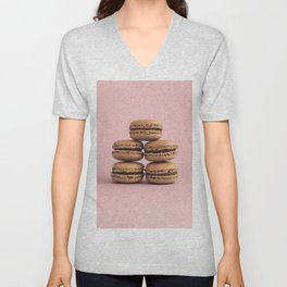 Macaroons on pink background Unisex V-Neck
