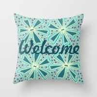 welcome Throw Pillows featuring Welcome by Vickn